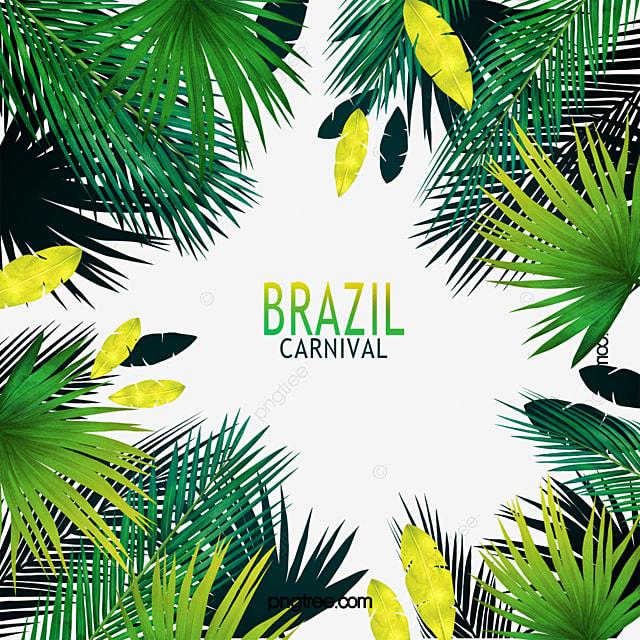 brazilian carnival tropical plant leaves border