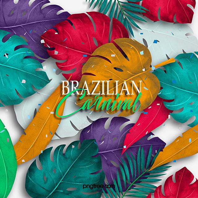 brazilian carnival tropical plants celebration elements
