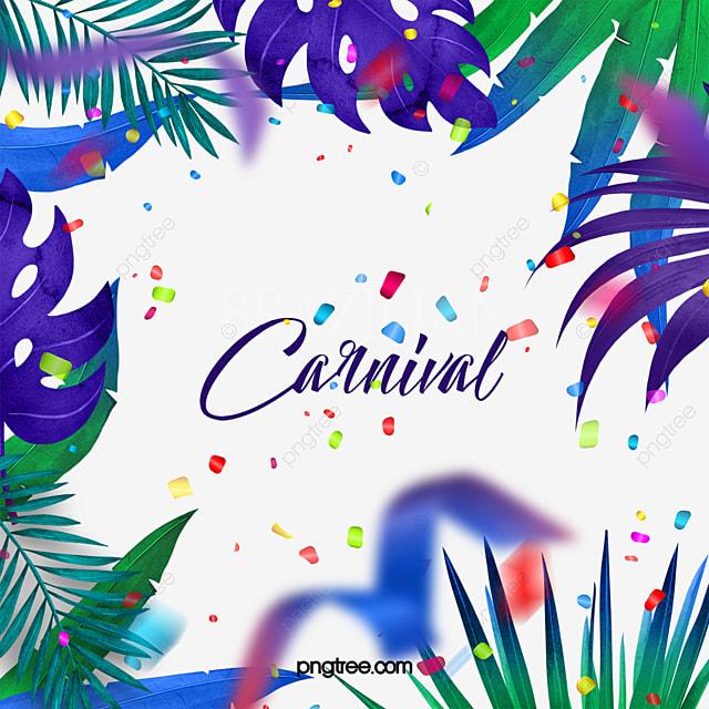 colored tropical leaves brazilian carnival border