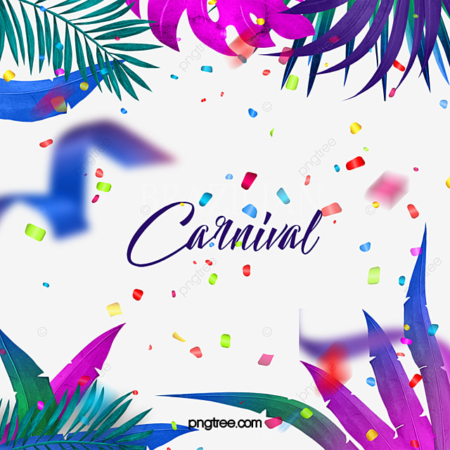 colorful tropical plant leaves carnival border