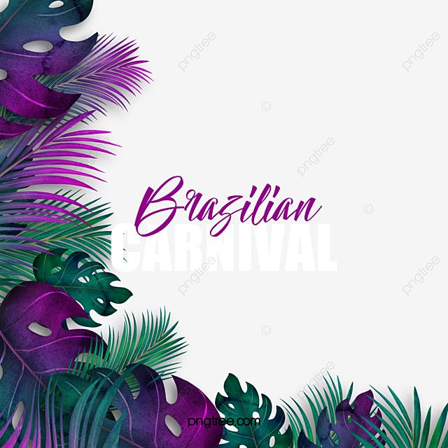 tropical leaves brazilian carnival border