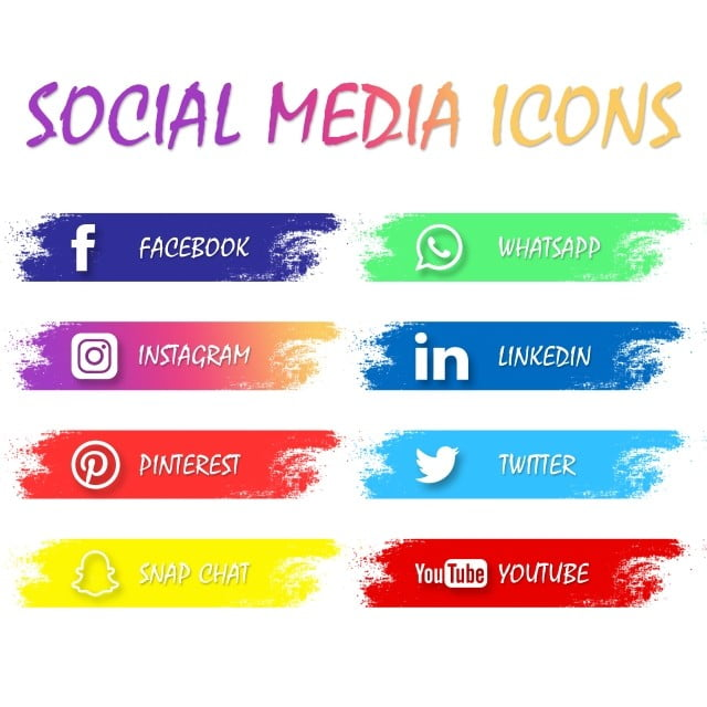 Most Popular Social Media Icons Twitter Pinterest Instagram Facebook Whatsapp Youtube Linkedin And Others On Colorful Brushs Icons Social Media Twitter Png Transparent Clipart Image And Psd File For Free Download