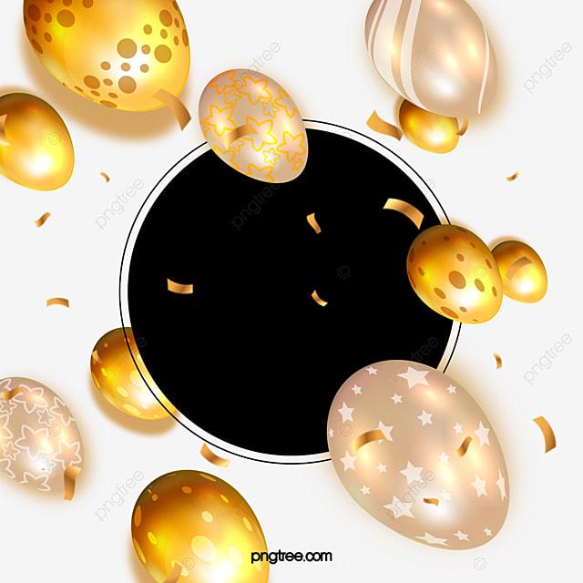 easter golden round border egg