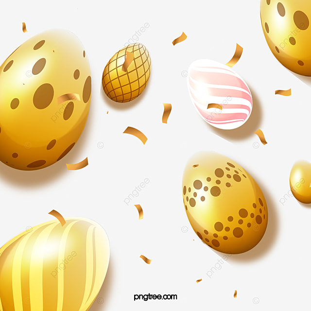 easter hand drawn golden egg decoration
