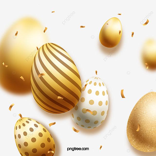 easter hand drawn golden eggs