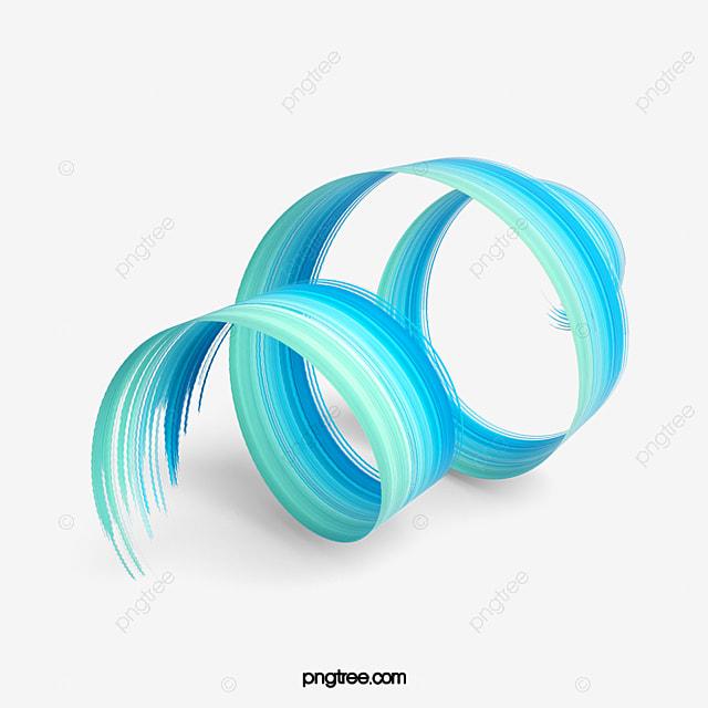 fresh blue three dimensional 3d brush element
