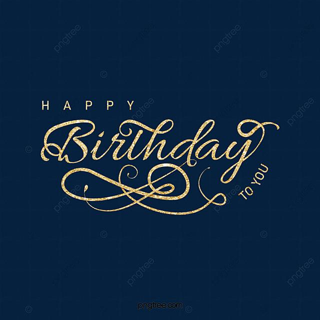 golden happy birthday english art word