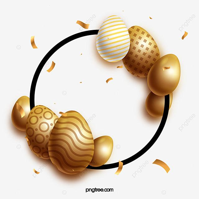round golden textured easter egg