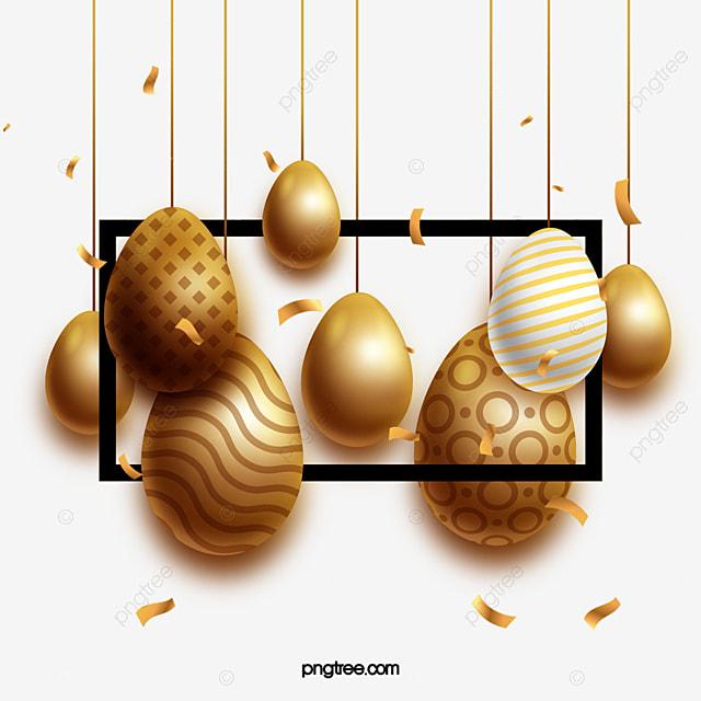 square border golden easter egg decoration