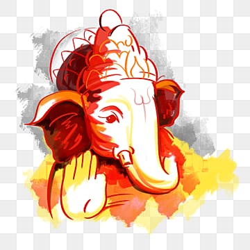 креативная красная кисть ганеша, творческий, красный, бог головы слона PNG и PSD
