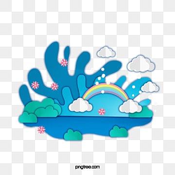 ящик для воды весеннего голубого озера, синий, озеро, Квадратная коробка PNG и PSD