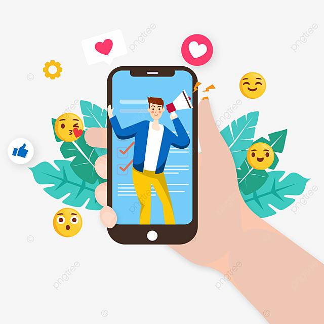 hand drawn blue mobile phone social media illustration