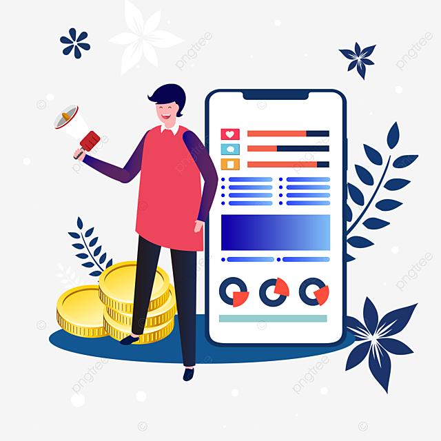 hand drawn blue mobile phone spread social media illustration