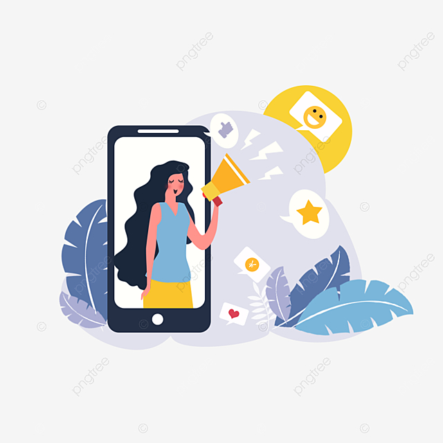 hand drawn mobile phone yellow woman illustration