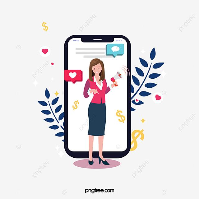 hand drawn plant social media female illustration