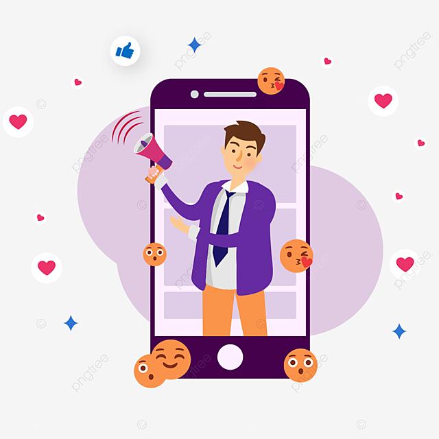 hand drawn purple mobile media social cartoon illustration