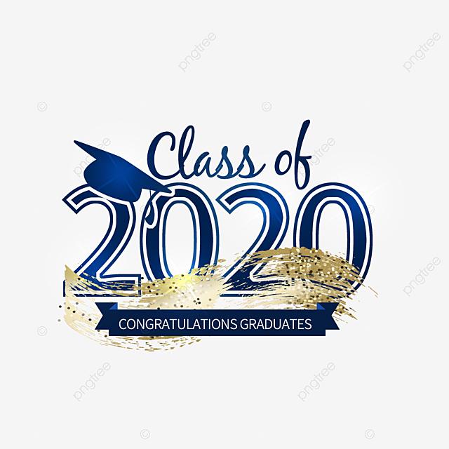 blue gradient creative 2020 graduation logo