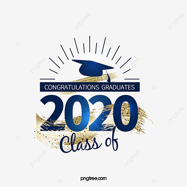 classic blue 2020 creative graduation font