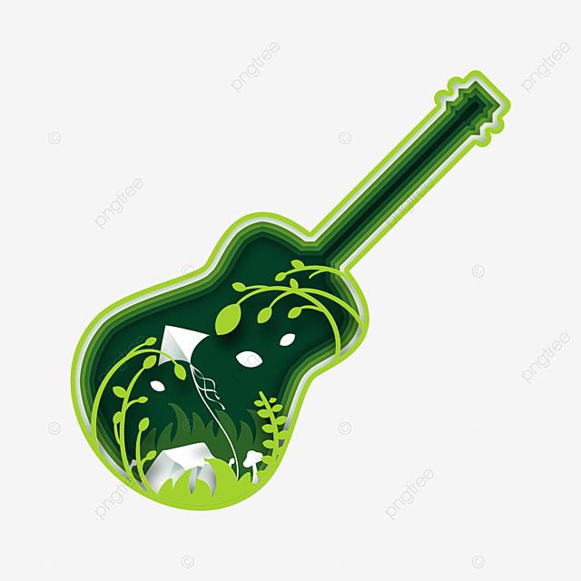 creative guitar spring paper cut