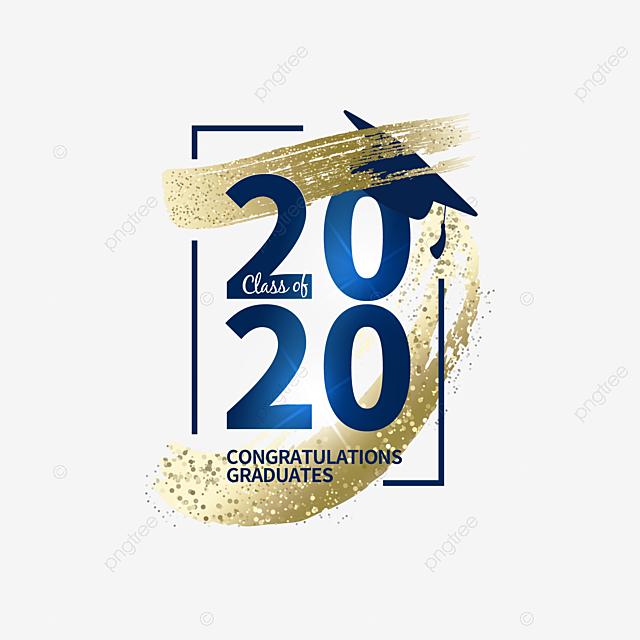 dark blue 2020 graduation creative text box
