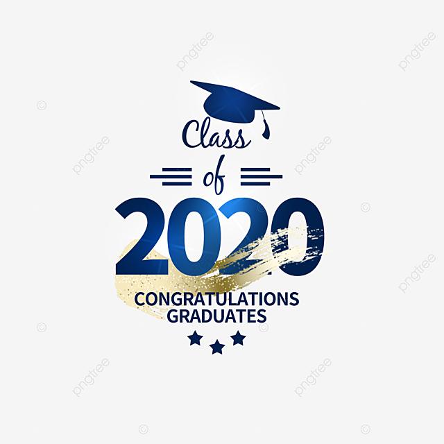 dark blue creative 2020 graduation elements