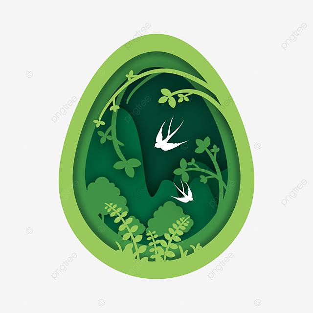 egg shaped spring paper cut