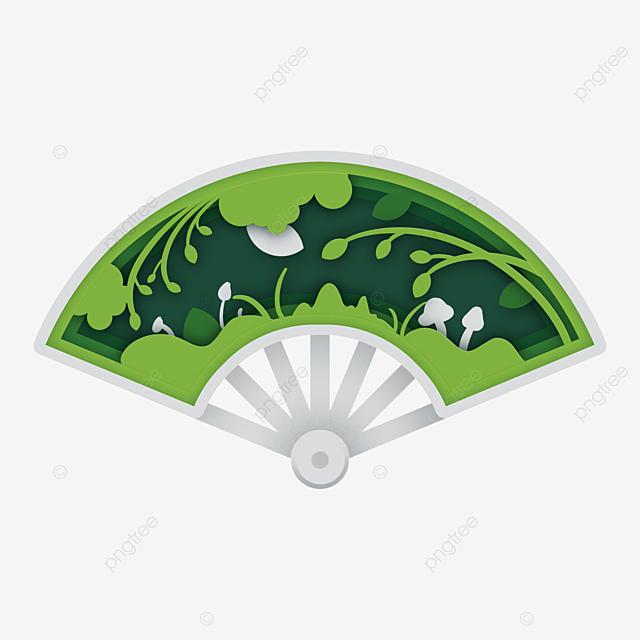 fan spring theme paper cut