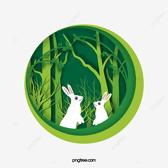 forest green spring rabbit paper cut