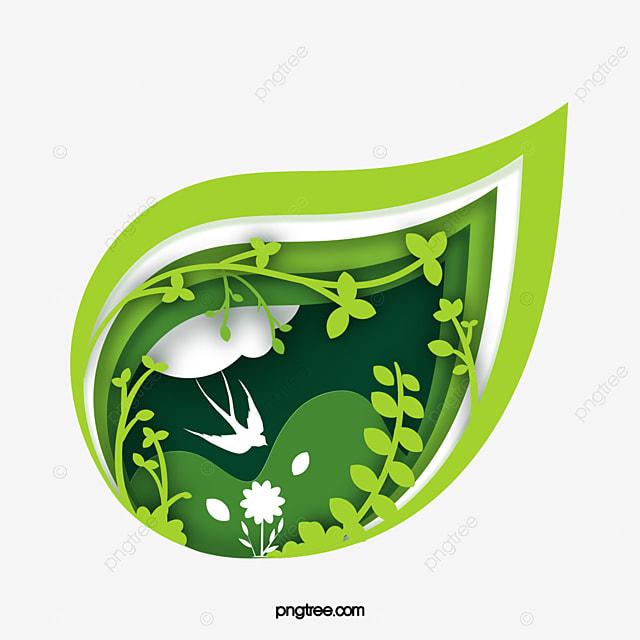 green leaf spring paper cut