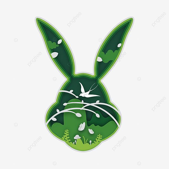 green small fresh rabbit spring paper cut