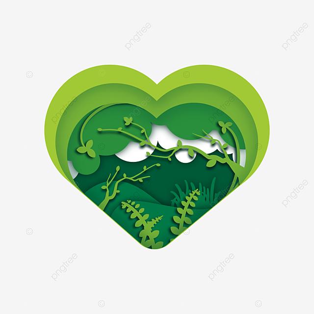 love shape green spring green paper cut
