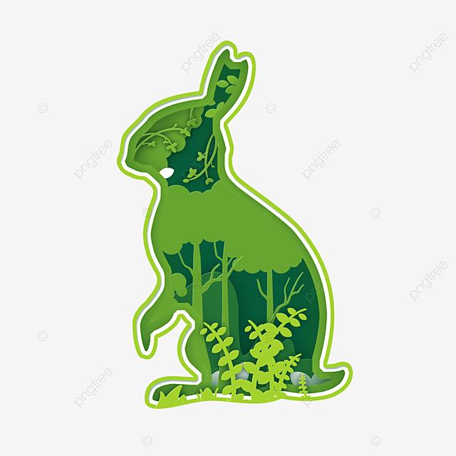rabbit shape spring theme paper cut