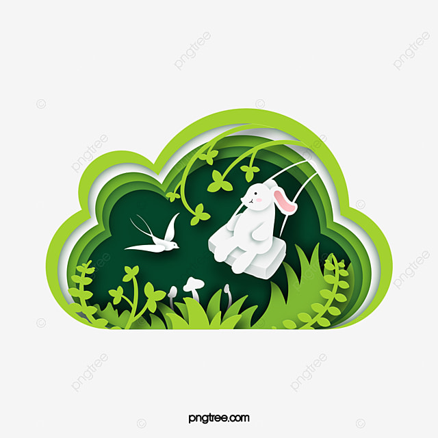 spring rabbit swinging paper cut