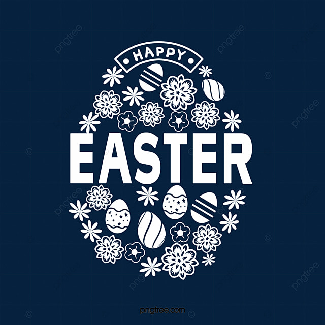 white easter theme egg flower font