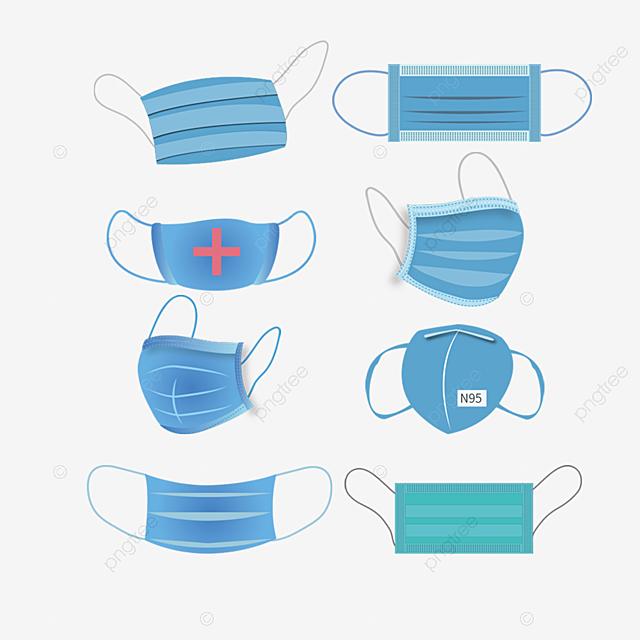 blue medical mask hand drawn illustration