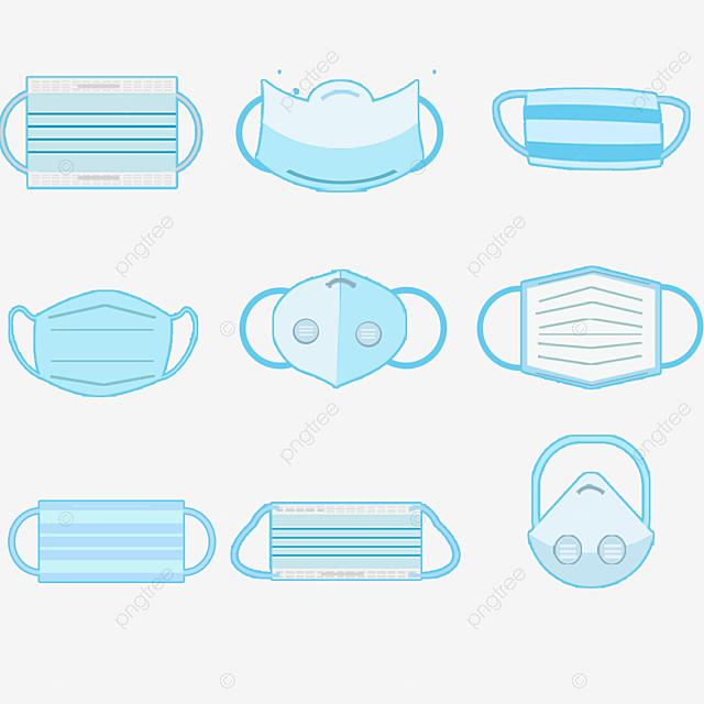 hand drawn blue cartoon medical mask illustration
