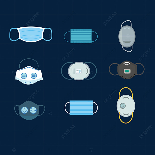 hand drawn medical mask blue illustration