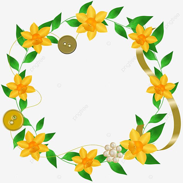 bingkai daun dan bunga kuning bingkai bulat bingkai bunga daun daun hijau png transparan gambar clipart dan file psd untuk unduh gratis bingkai daun dan bunga kuning bingkai