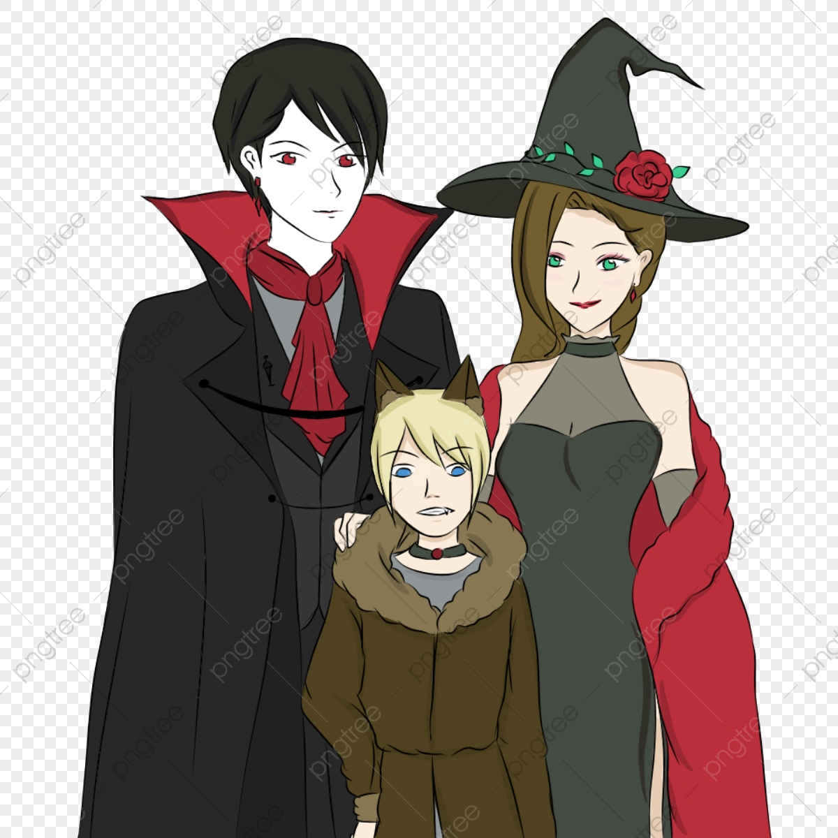 A Family In Halloween Vampire Witch And Werewolf Costumes Halloween Happy Halloween Halloween Costume Png Transparent Clipart Image And Psd File For Free Download