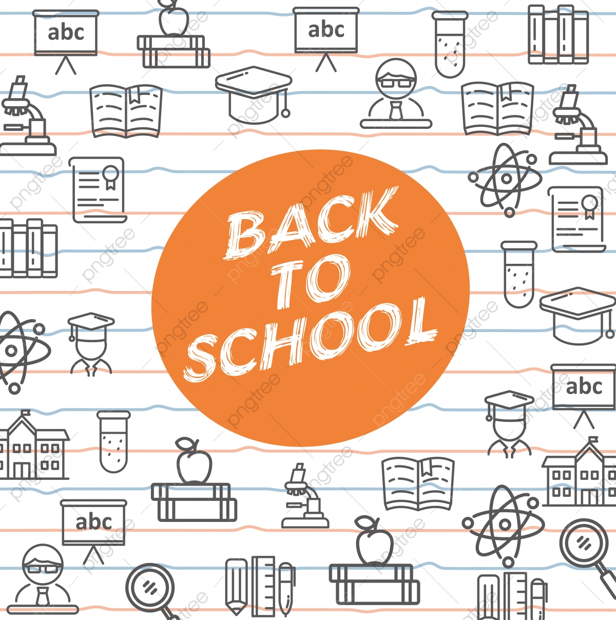 Back To School Template Design School And Education Related Icon With Simple Line Design Back To School Line Icon Png And Vector With Transparent Background For Free Download