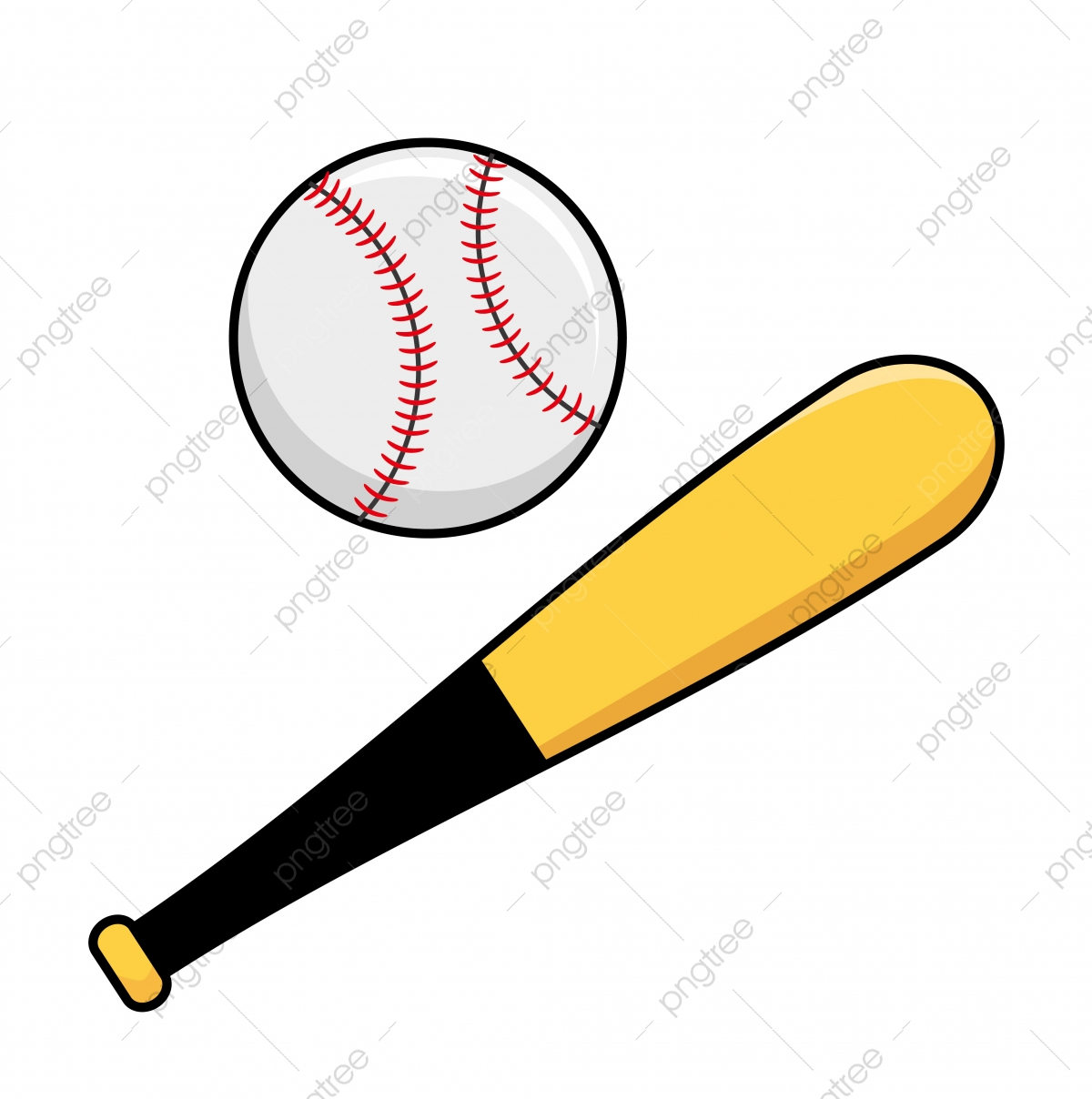 Baseball Bat And Ball Vector Illustration Isolated On White Background Baseball Clip Art Baseball Bat Ball Png And Vector With Transparent Background For Free Download