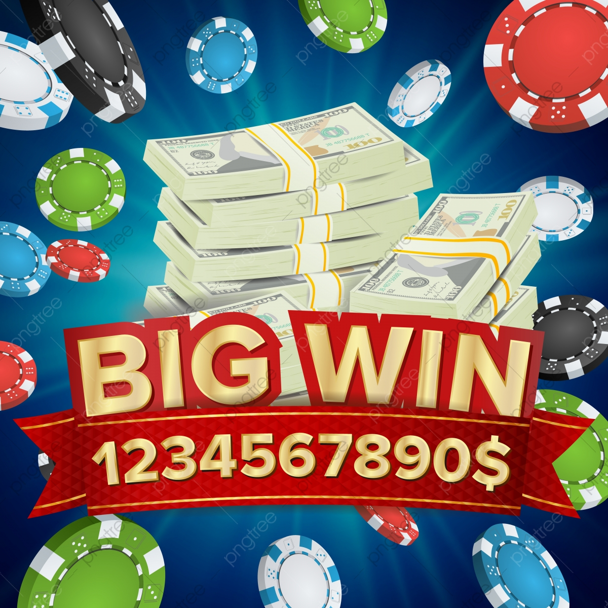 Big Win Banner Background For Online Casino Gambling Club Poker