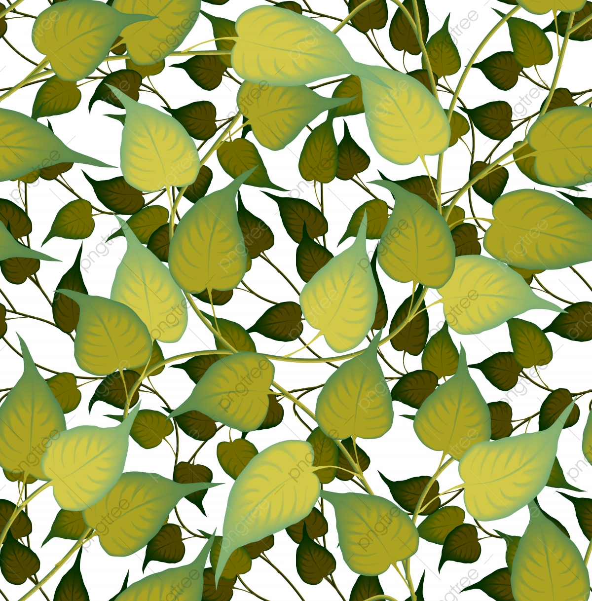 Classic Unique Seamless Foliage Pattern Design Leaf Green Leaves Png And Vector With Transparent Background For Free Download