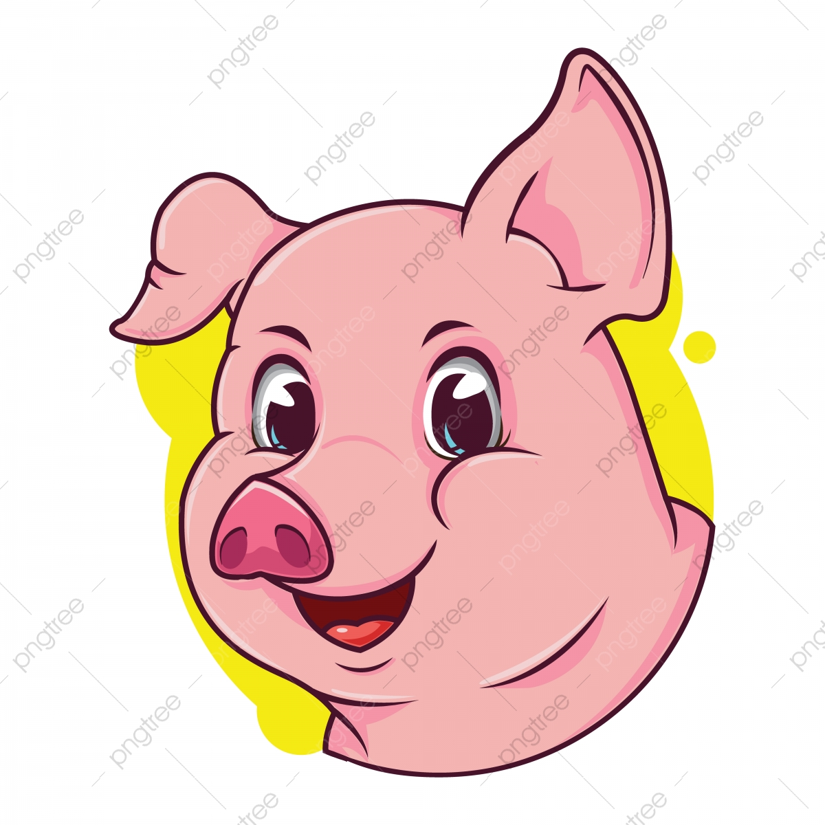 Cute Pig Avatar With A Yellow Background Avatar Market Web Png And Vector With Transparent Background For Free Download