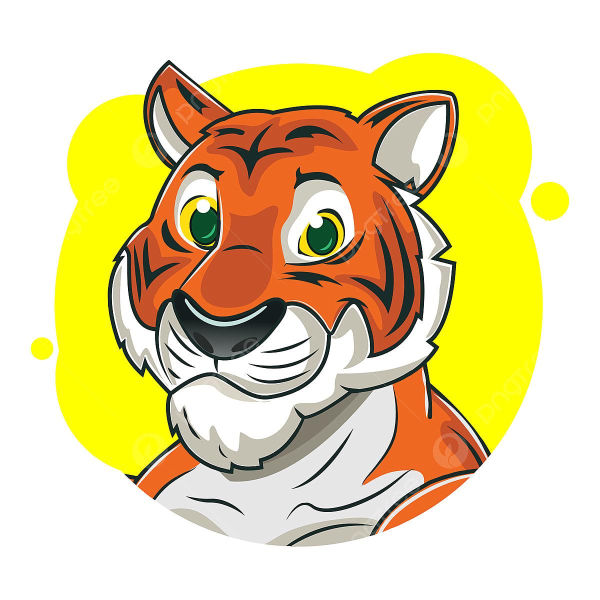 Gambar Avatar Harimau Lucu Dengan Latar Belakang Kuning Avatar Pasar Web Png Dan Vektor Dengan Latar Belakang Transparan Untuk Unduh Gratis