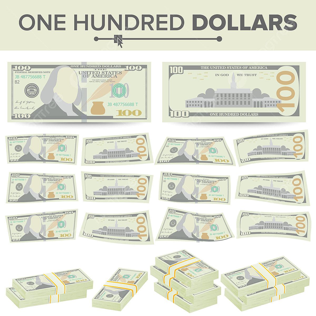 Доллары вектора банкноты установленного Валюта США шаржа 2 стороны ... | 1200x1200