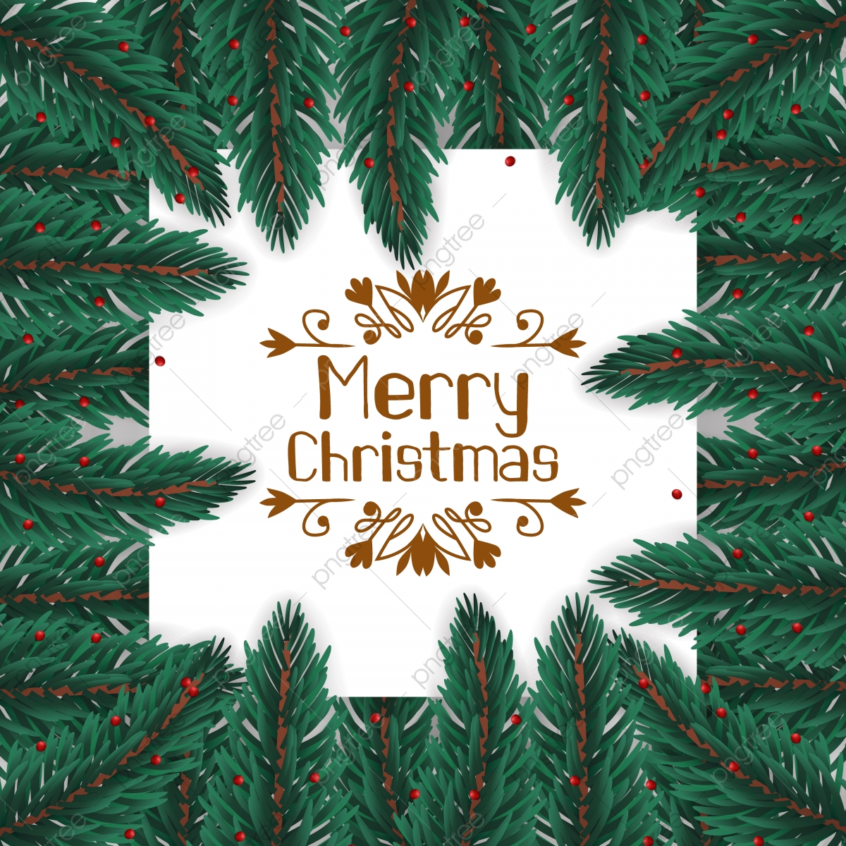 Frame Border Fir Leaves Garland Decoration For Christmas Background Holiday Christmas Png And Vector With Transparent Background For Free Download