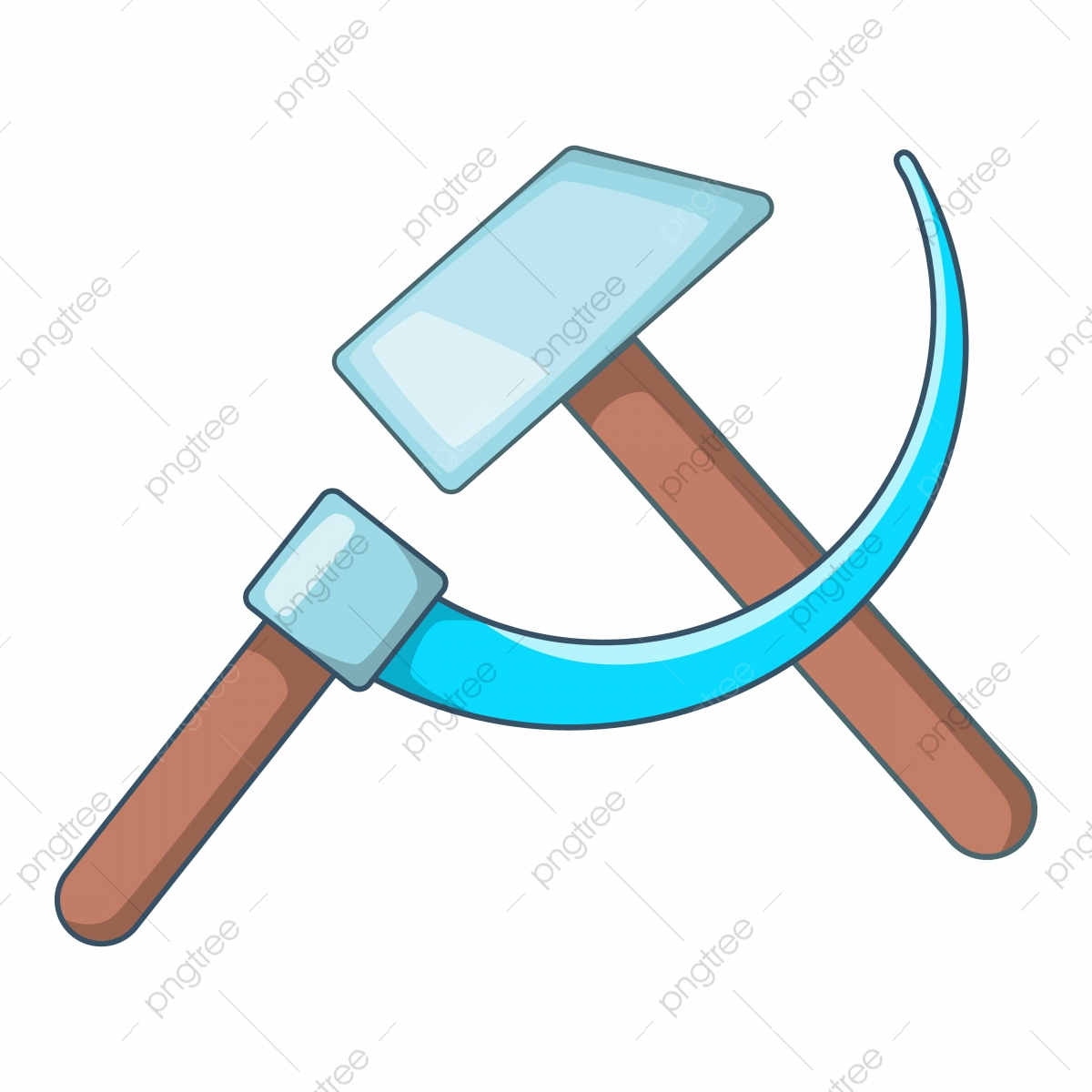 Hammer And Sickle Icon Cartoon Style, Hammer, Sickle, Ussr PNG and ...