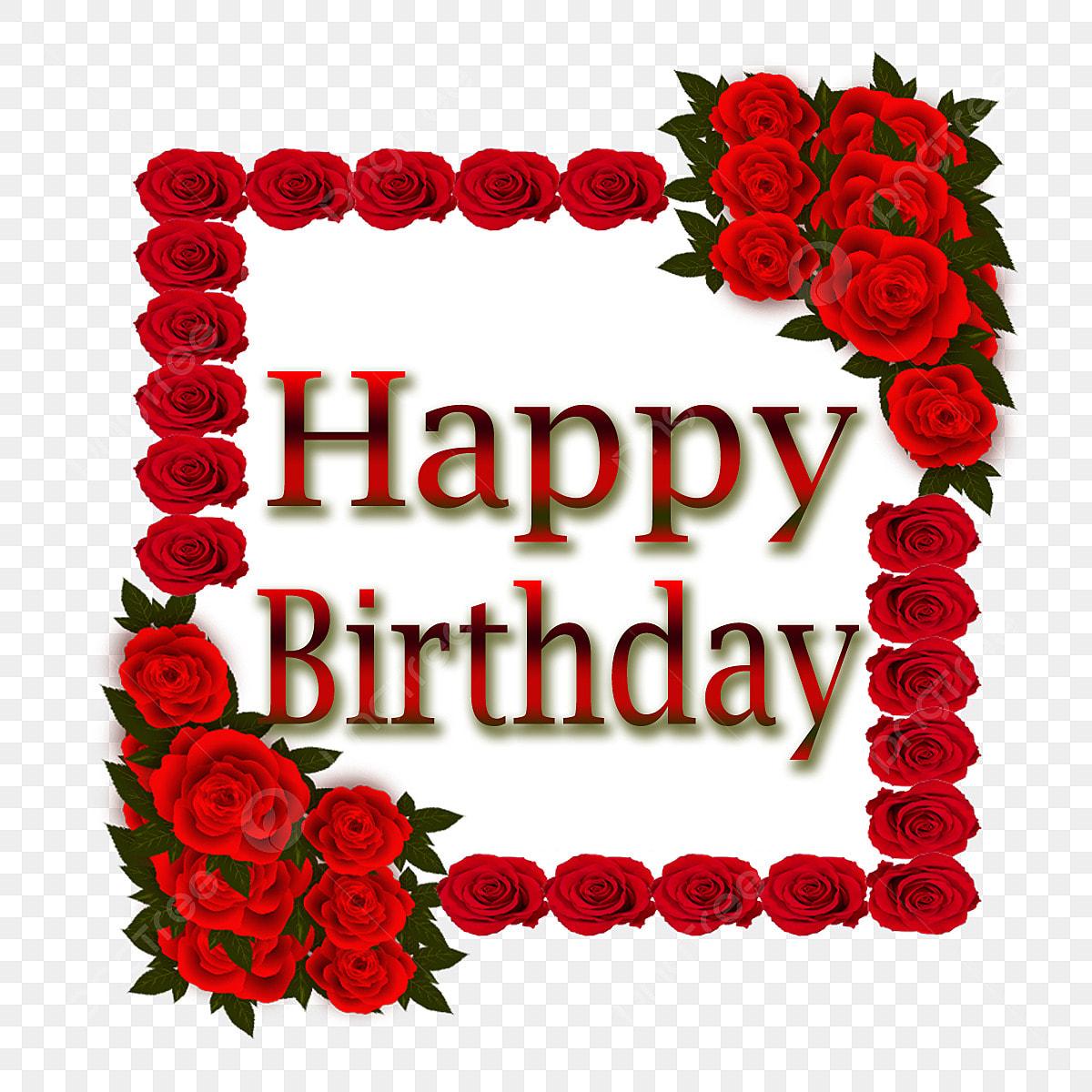 Joyeux Anniversaire Cadre Rose Fleur Pivoine Invitation Fichier Png Et Psd Pour Le Telechargement Libre