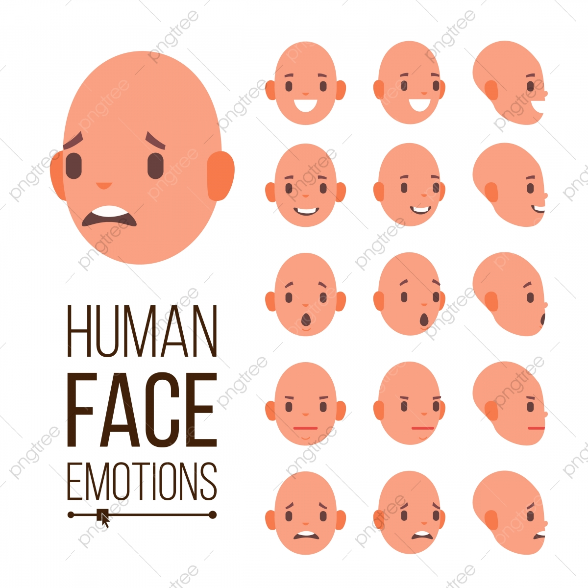 Emosi Manusia Vektor Muka Tersenyum Marah Terkejut Ketawa
